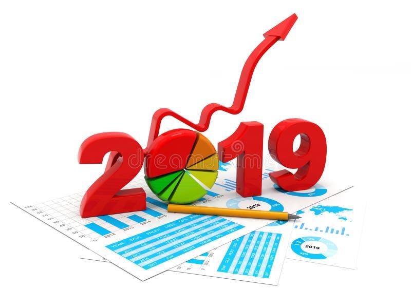 Błękitny biznesowy wykres z strzałą w górę i 2019 symbolem, reprezentuje przyrosta w nowym roku 2019, trójwymiarowy rendering, 3D ilustracji