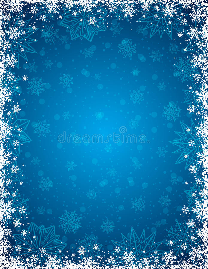 Błękitny bożego narodzenia tło z ramą płatki śniegu i gwiazdy ilustracja wektor