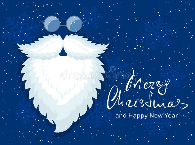 Błękitny Bożenarodzeniowy tło z Santa szkłami i brodą ilustracja wektor
