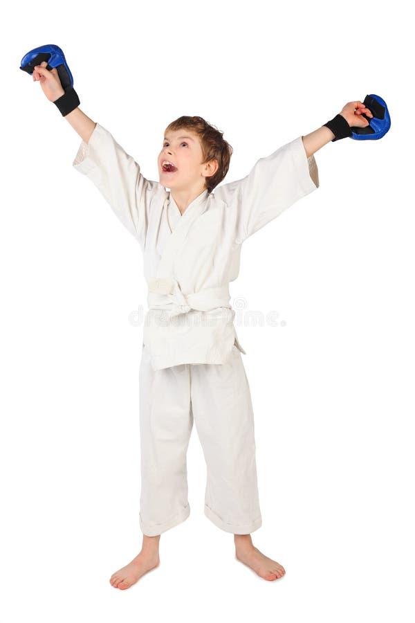 błękitny boksera bokserskie chłopiec sukni rękawiczki biały fotografia royalty free