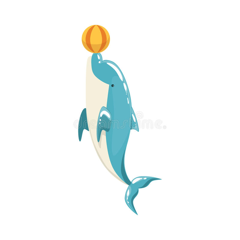 Błękitny Bottlenose delfin Balansuje piłkę Dla rozrywki przedstawienia, Realistyczny Nadwodnego ssaka wektoru rysunek ilustracja wektor