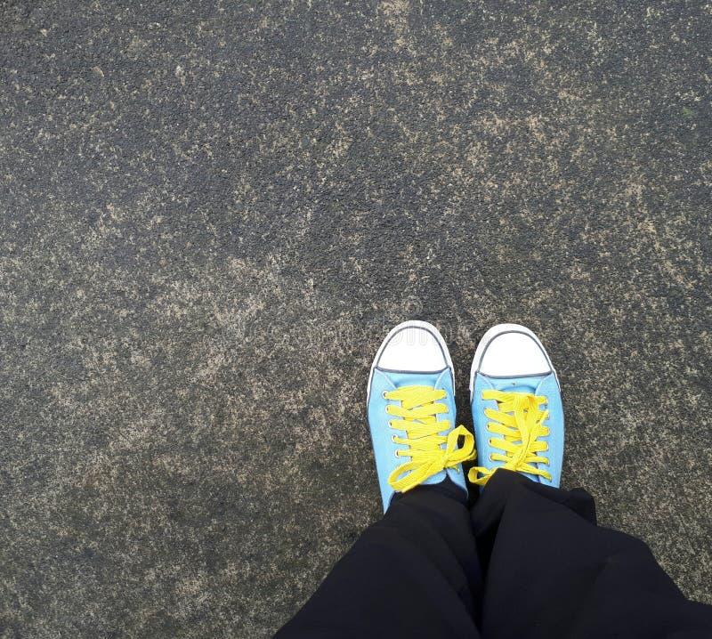błękitny brezentowi buty obraz stock