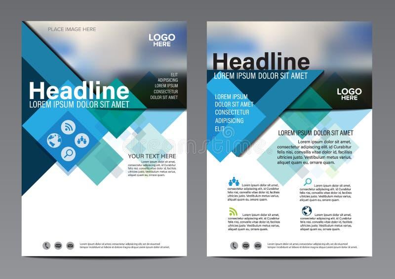 Błękitny broszurki sprawozdania rocznego ulotki projekta szablon Ulotki okładkowej prezentaci Nowożytny płaski tło ilustracyjny w ilustracja wektor