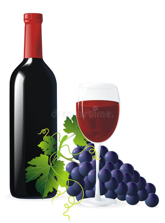błękitny butelki winogron wino ilustracji