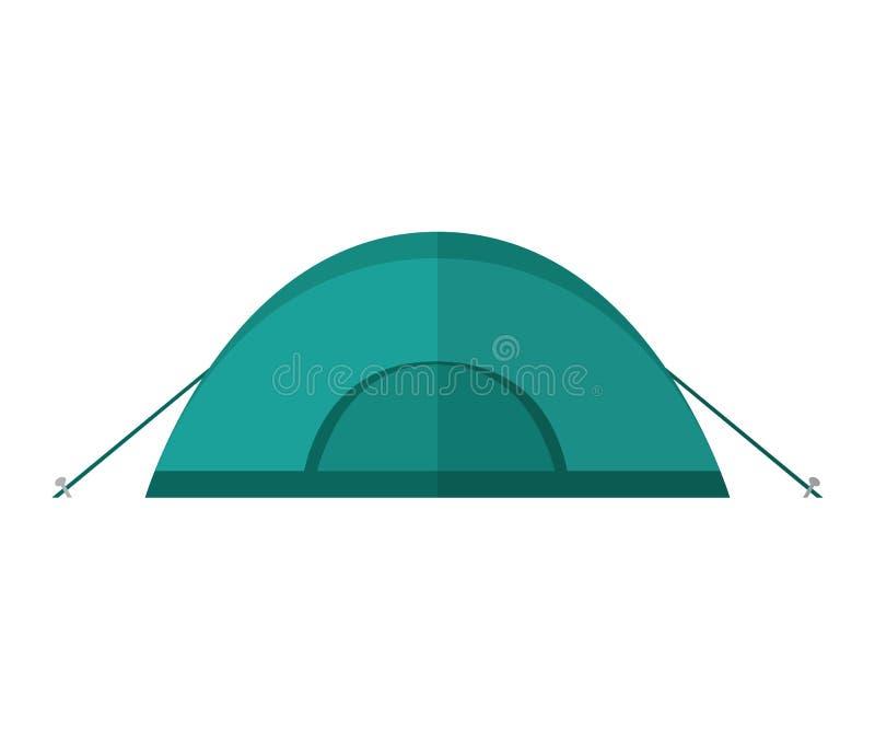 Błękitny campingowy namiot odizolowywający na białym tle royalty ilustracja