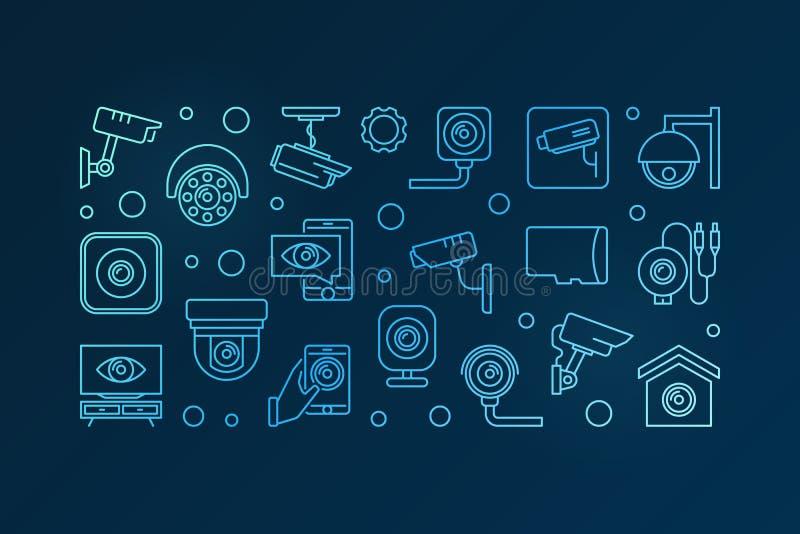 Błękitny CCTV i inwigilaci kamery wektoru sztandar ilustracji