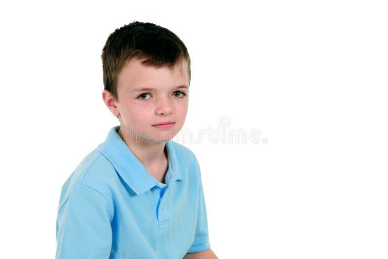 błękitny chłopiec poważna koszula obrazy stock