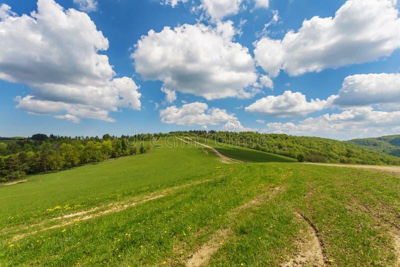 Błękitny chmurny niebo nad zielonymi wzgórzami i wiejską drogą obrazy stock