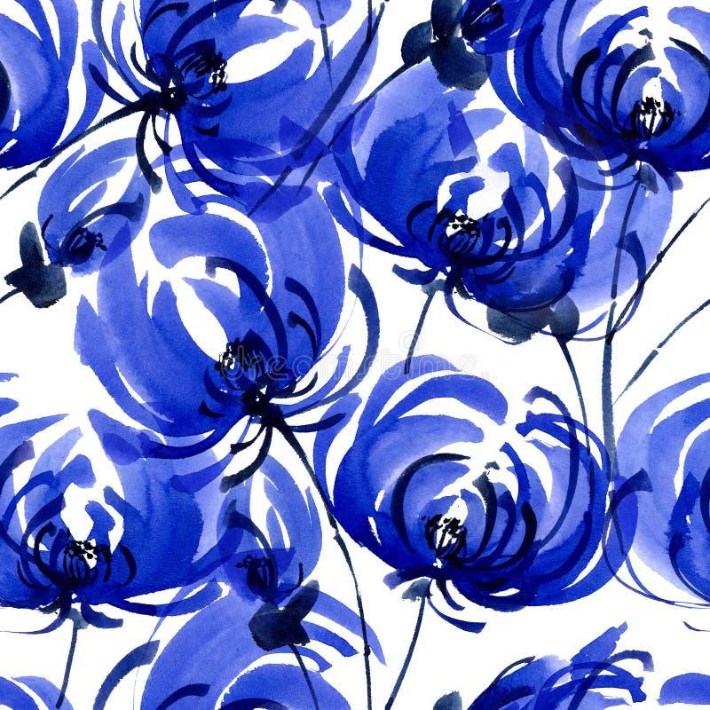 Błękitny chrisanthemium wzór royalty ilustracja