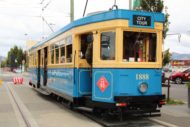 Błękitny Christchurch tramwajów tramwaj, Nowa Zelandia obrazy royalty free