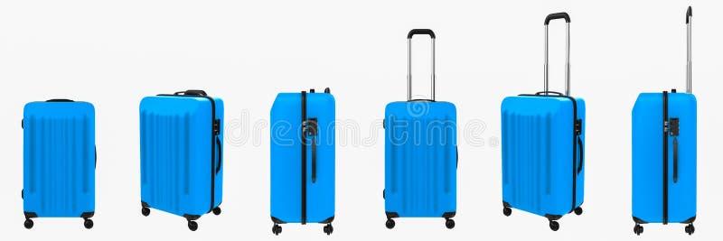 Błękitny ciężki skrzynka bagaż odizolowywający na bielu obraz stock