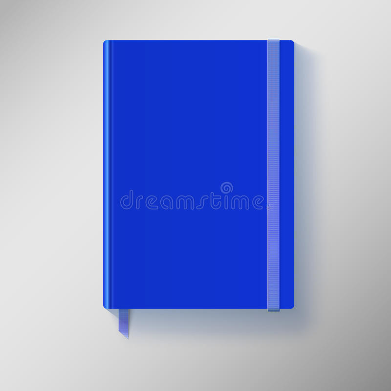 Błękitny copybook z elastycznym zespołem i bookmark. ilustracja wektor