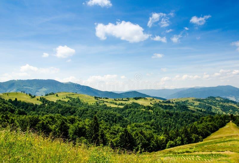 błękitny Crimea głęboki krajobrazowy halny nieba lato Ukraine drzewa zbliżają łąkę i las na wzgórzach fotografia stock