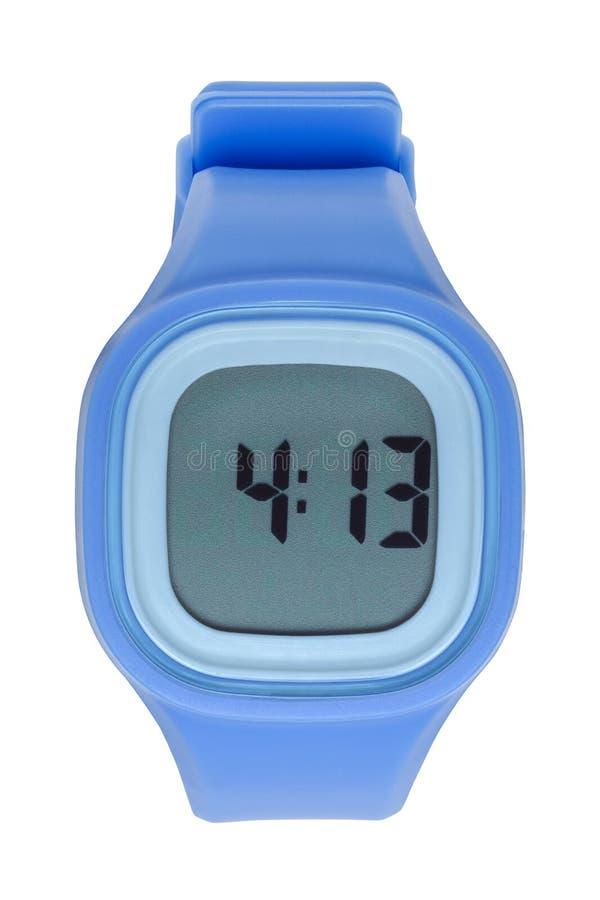 Błękitny Cyfrowy zegarek zdjęcia stock