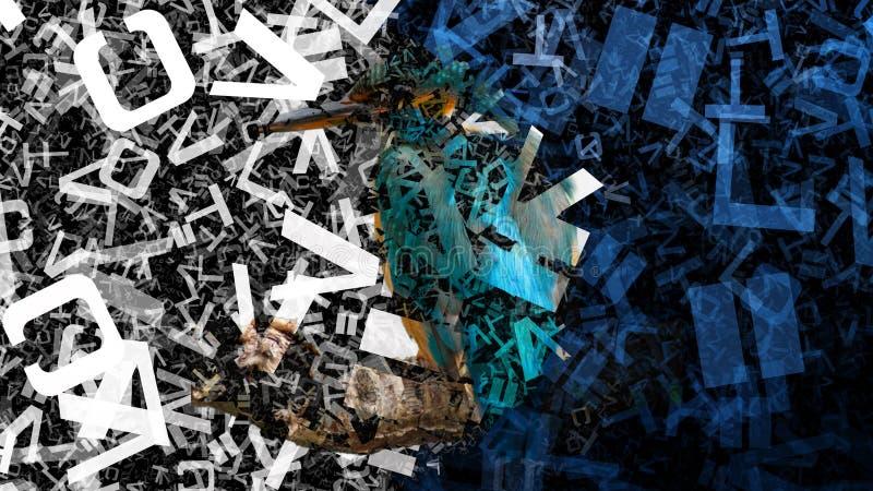 Błękitny Czarny I Biały Przypadkowy abecadło Pisze list tekstury tła wizerunku Piękną elegancką ilustrację ilustracji