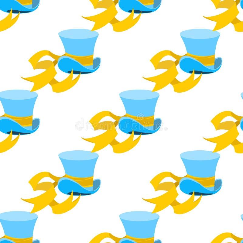 Błękitny czarownika kapelusz z żółtej taśmy bezszwowym wzorem Kapeluszowy sklep Butli Hatter od bajki Alice przygod wewnątrz ilustracji
