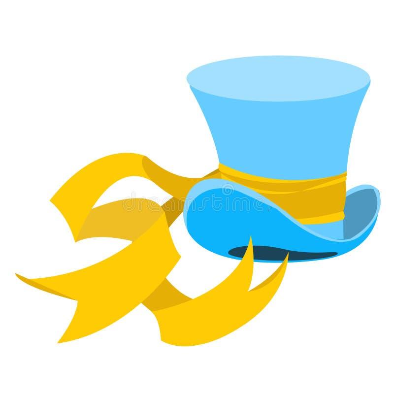 Błękitny czarownika kapelusz z długim żółtym faborkiem Starego cz?owieka pi?ropusz Butla d?entelmen Kapeluszowy sklep ilustracji