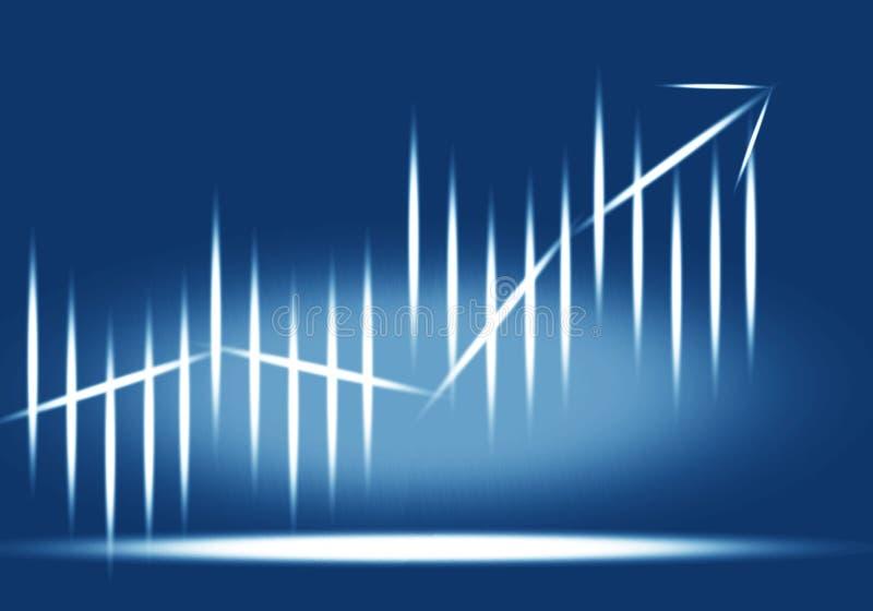 Błękitny 3D biznesowy wykres pokazuje przyrosta ilustracji