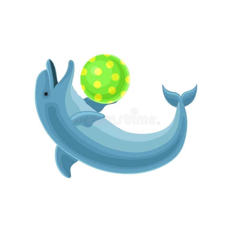 Błękitny delfin bawić się z balową wektorową ilustracją na białym tle ilustracji