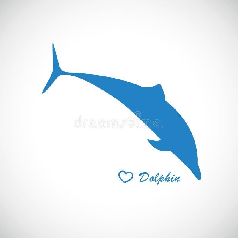 Błękitny delfin skacze ikonę ilustracji