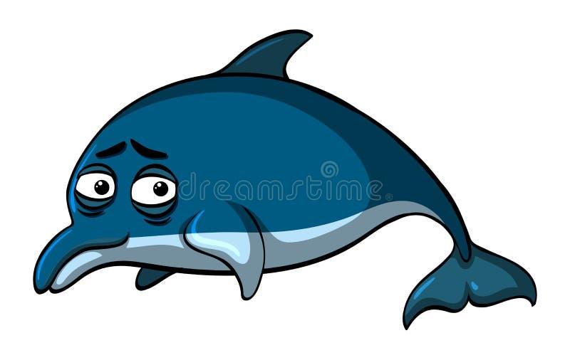 Błękitny delfin z smutną twarzą royalty ilustracja