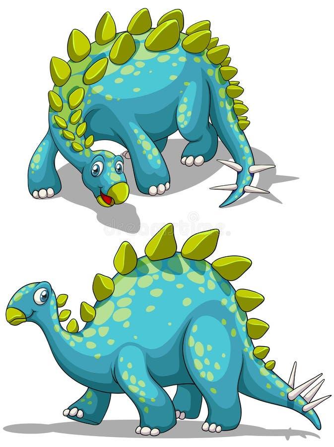 Błękitny dinosaure z kolca ogonem ilustracja wektor