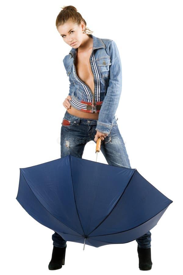 błękitny drelichowi kostiumu kobiety potomstwa zdjęcia royalty free