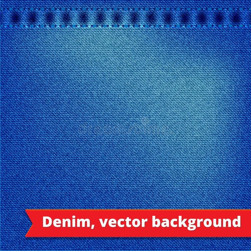 Błękitny Drelichowy tekstury tło ilustracji