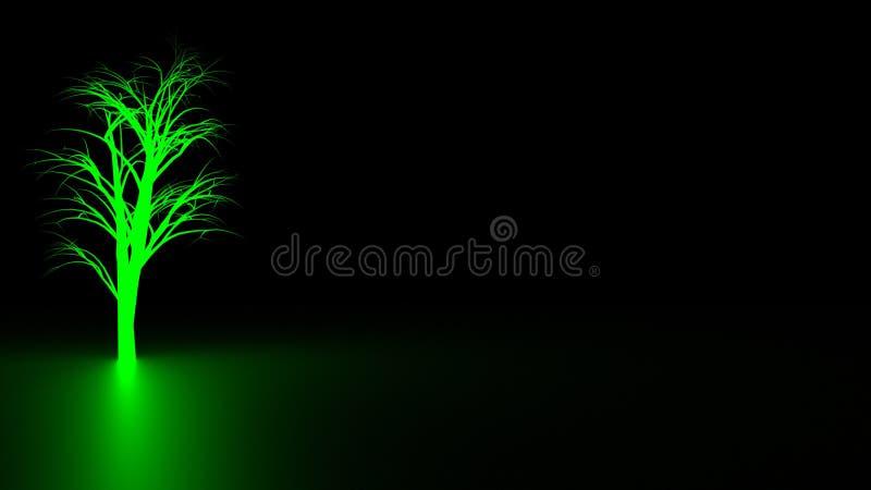 Błękitny drzewo w zmroku fotografia stock