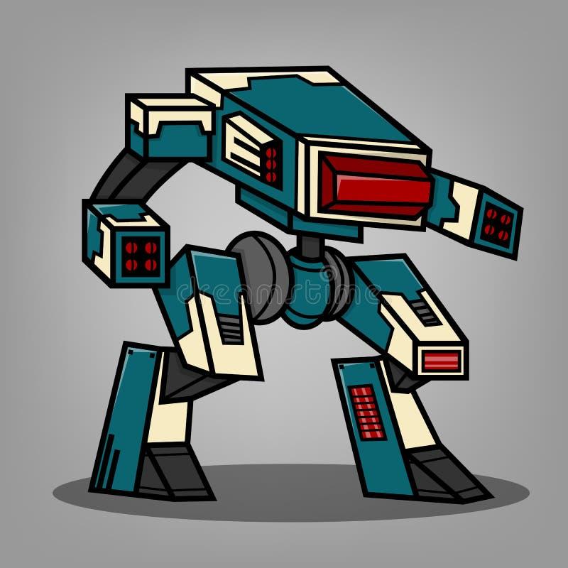 Błękitny działo robot ilustracji