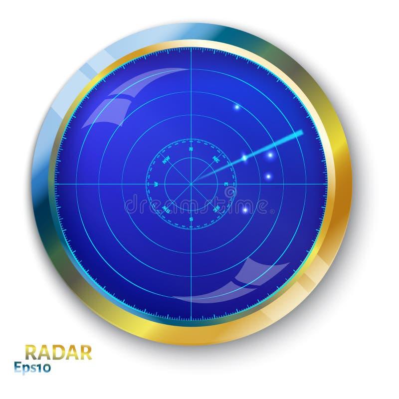 Błękitny ekran radaru ilustracja wektor