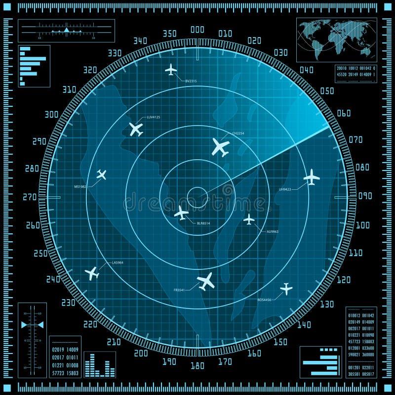 Błękitny ekran radaru z samolotami ilustracji