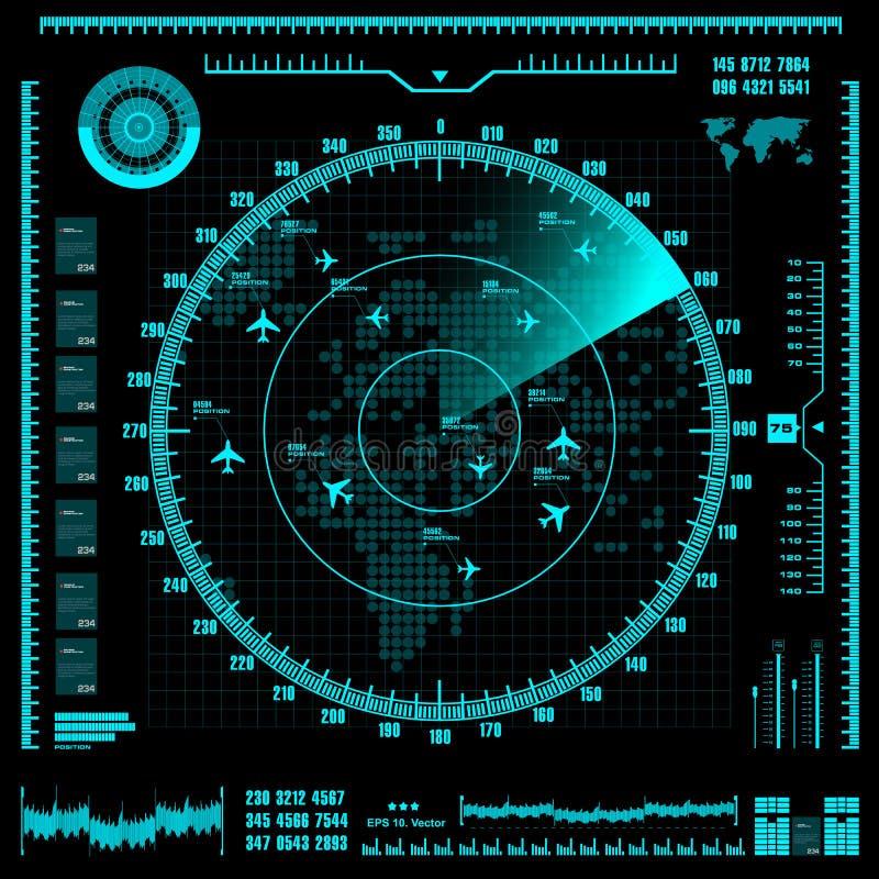 Błękitny ekran radaru z samolotami i światową mapą eps10 kwiatów pomarańcze wzoru stebnowania rac ric zaszywanie paskował podstrz ilustracja wektor
