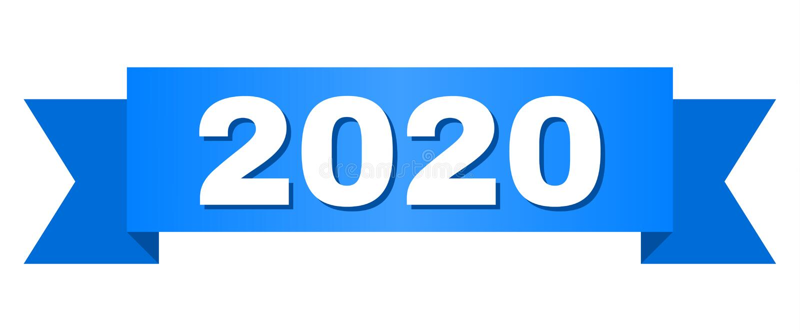 Błękitny faborek z 2020 tekstem royalty ilustracja