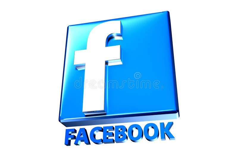 Błękitny Facebook 3D royalty ilustracja
