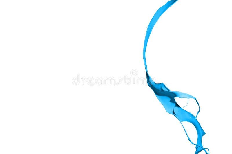Błękitny farby pluśnięcie odizolowywający na białym tle zdjęcia stock