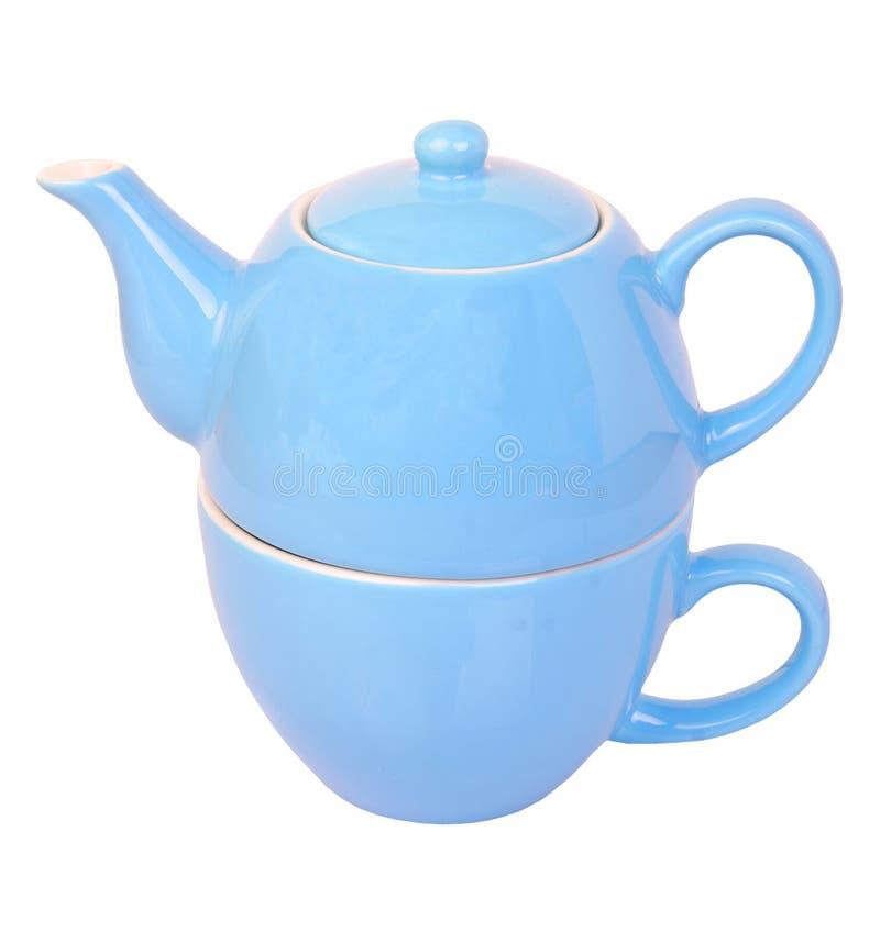 błękitny filiżanki garnka herbata zdjęcie royalty free