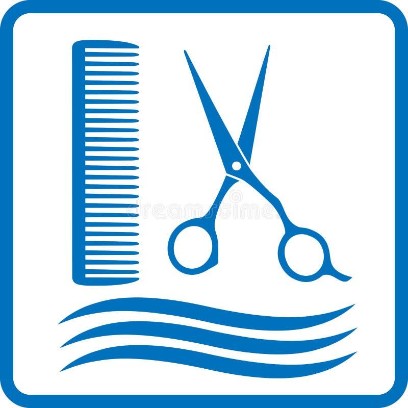 Błękitny fryzjera znak royalty ilustracja