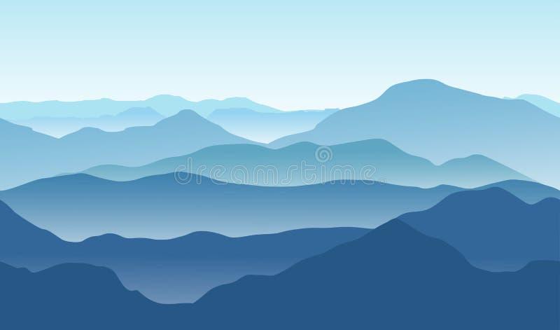 Błękitny góra krajobraz w lecie Bezszwowy tło royalty ilustracja