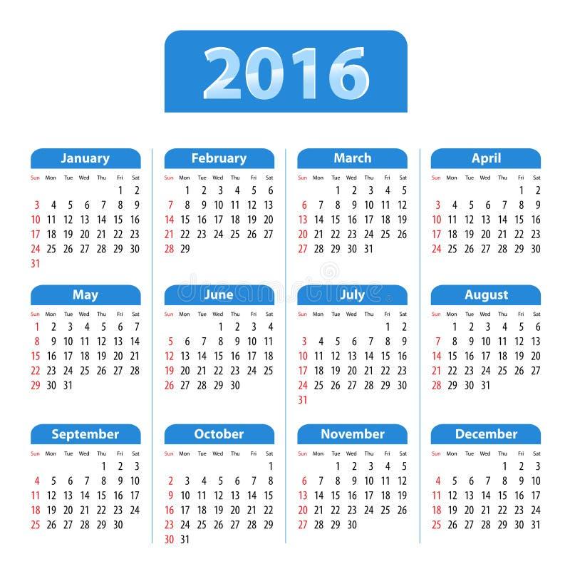 Download Błękitny Glansowany Angielszczyzna Kalendarz Dla 2016 Ilustracja Wektor - Ilustracja złożonej z piątek, tło: 57660438