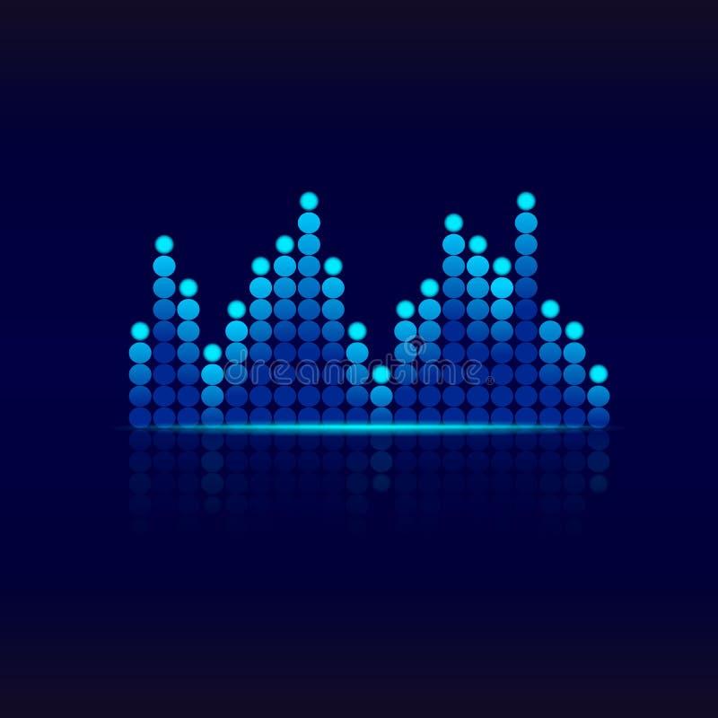 Błękitny graficzny wyrównywacz Projekt rozsądnej fali wyrównywacz Muzyczny wyrównywacza tło dla klubu, radio, koncerty wektor royalty ilustracja