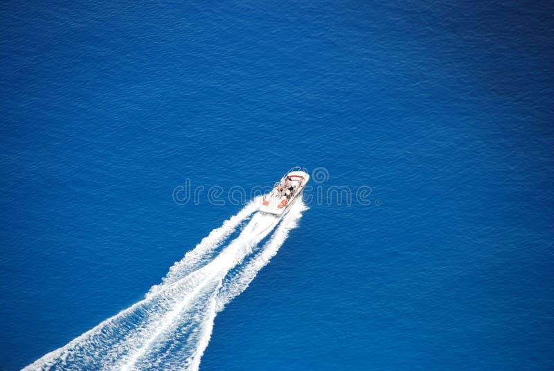 błękitny Greece wyspy motorboat navagio morze Zakynthos obraz royalty free