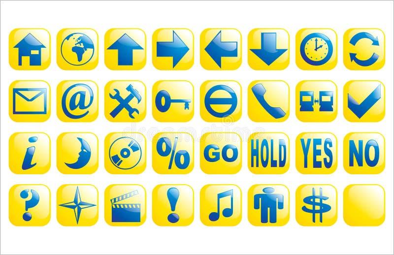 błękitny guzików glansowany wektorowy sieci kolor żółty ilustracji