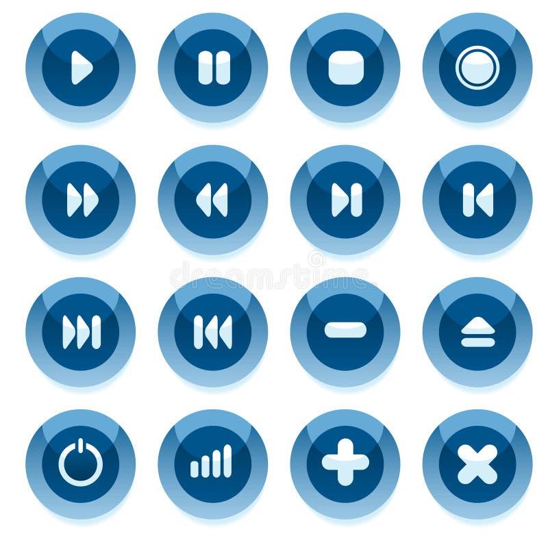 błękitny guzików multimedii wektor ilustracja wektor