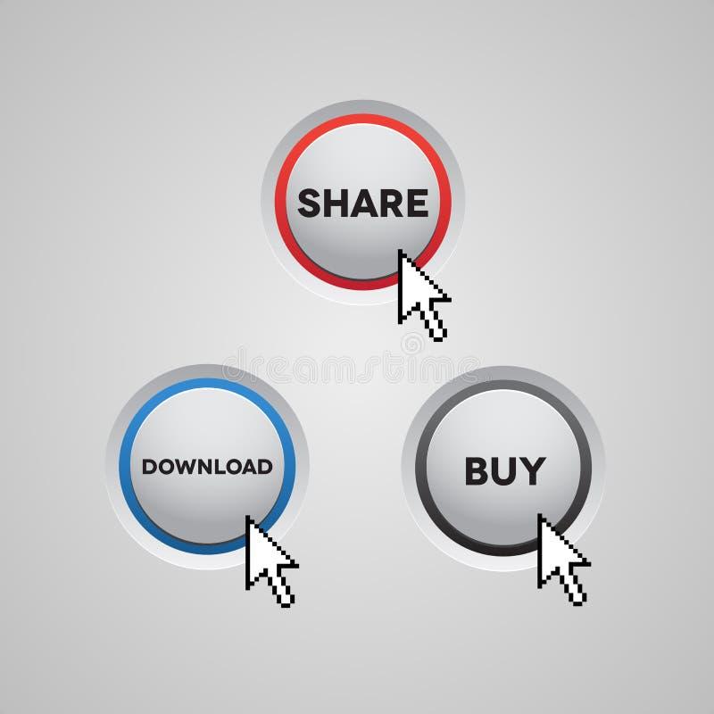 błękitny guzika zakupu ściągania grey czerwona część ilustracji