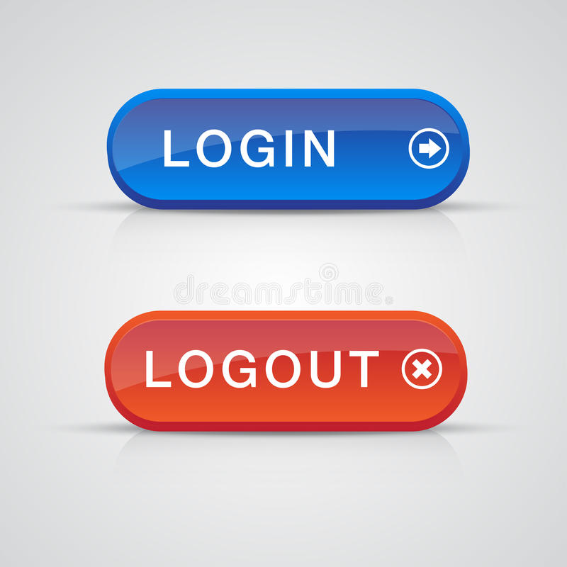 błękitny guziki login logout czerwieni set ilustracja wektor