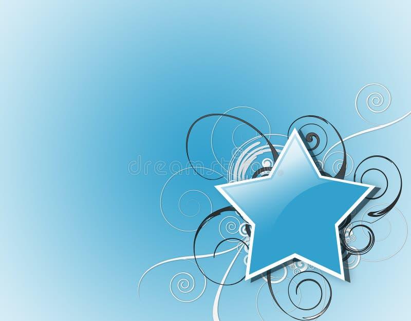 błękitny gwiazdy zawijasy ilustracji