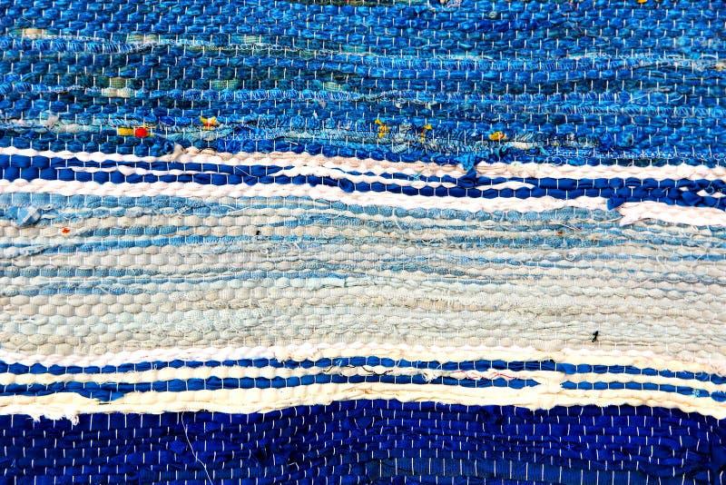 Błękitny handmade dywanika tekxure wzór Tło fotografia royalty free