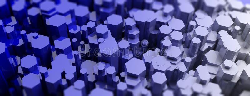 Błękitny heksagonalny graniastosłupa abstrakta tło ilustracja 3 d royalty ilustracja