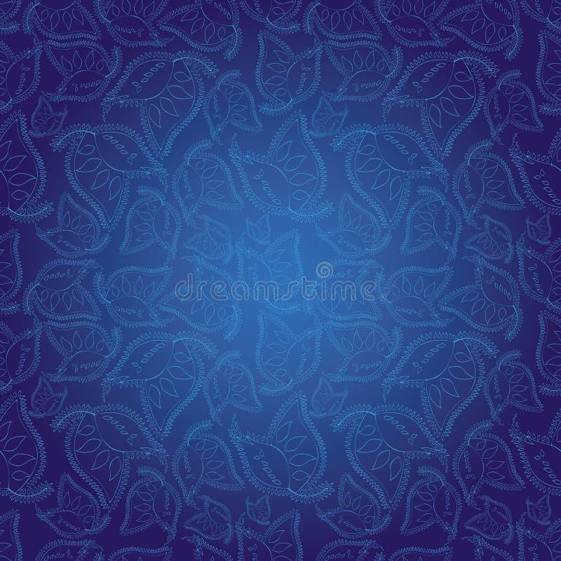 błękitny hindusa wzoru bezszwowa stylu tapeta royalty ilustracja